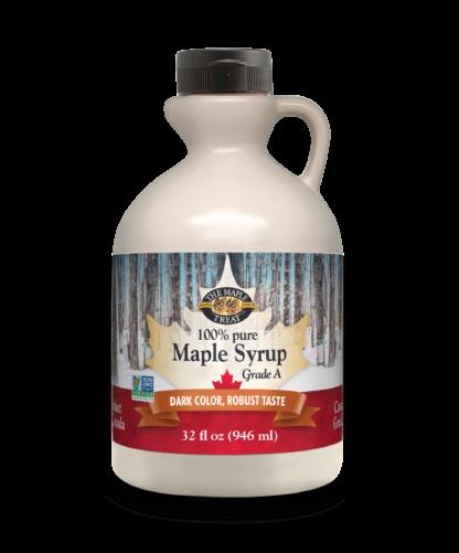 32 fl oz dark maple syrup, plastic jug