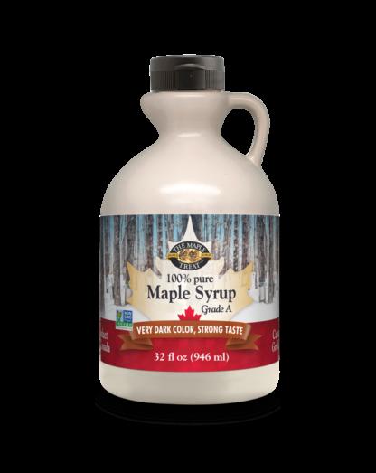 32 fl oz very dark maple syrup, plastic jug
