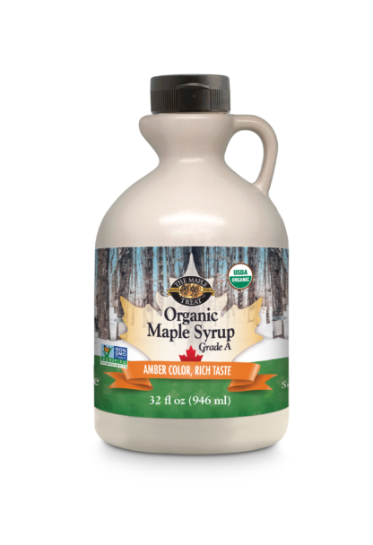 32 fl oz organic amber maple syrup, plastic jug