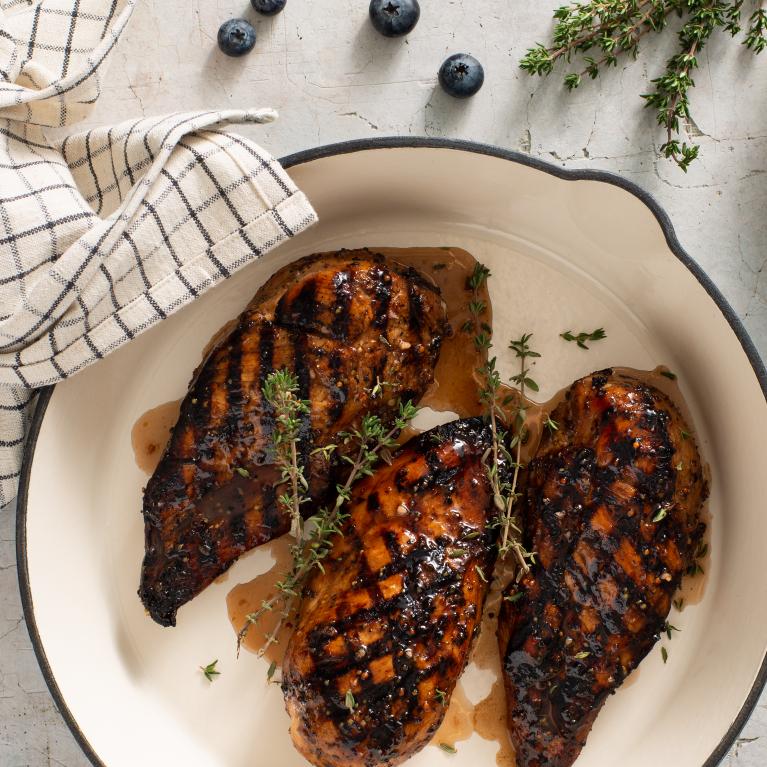 Poulet grillé aux bleuets et au balsamique